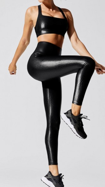 Lavola High Waisted Leggings >> echt wirkende Leder Optik und Muster in Schwarz