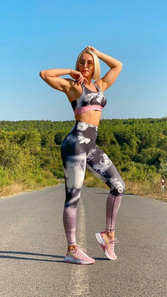 Lavola High Waisted Sport Leggings Smoke-Rose gestreift