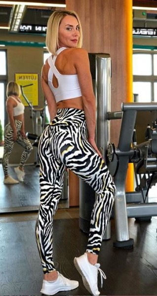 Lavola Sport High Waisted Leggings Zebramuster (Gelb)