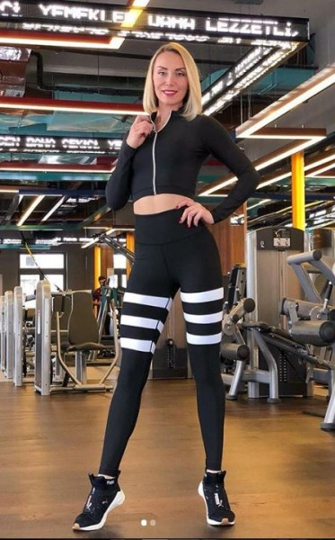 Lavola High Waisted Leggings mit kontrastfarbenen Taillenblende Black-Line