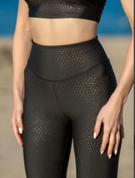 Lavola High Waisted Leggings in Lederoptik >> echt wirkende Krokodil-muster>>